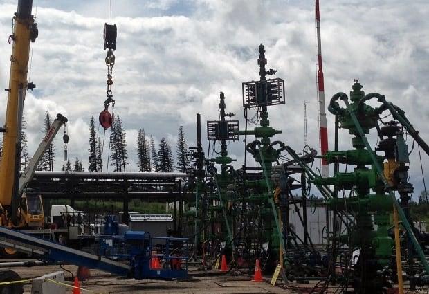 A fracking site near Grande Prairie Alberta