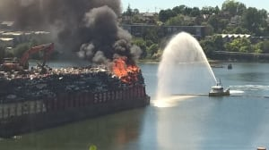 Car barge on fire in Victoria's Gorge Waterway