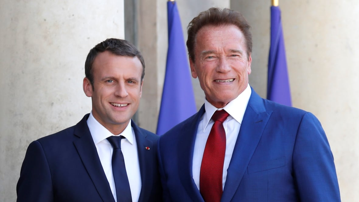 Schwarzenegger, Macron riff on Trump's campaign slogan in selfie video
