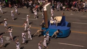 This float about Quebec's history spurred allegations of racism from some people in the crowd.