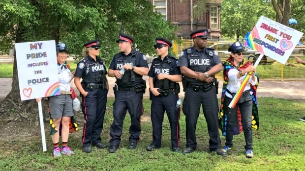 Uniformed police gathered in Winchester Park on Sunday alongside supporters from the community.