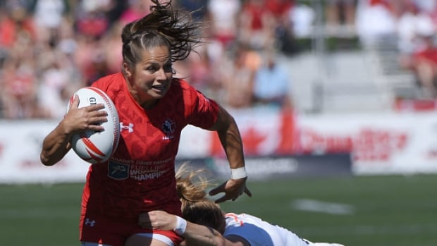 Canada's Ashley Steacy, pictured above against England at the HSBC Canada women's sevens rugby event in May, ended her international career with a bronze medal in France.