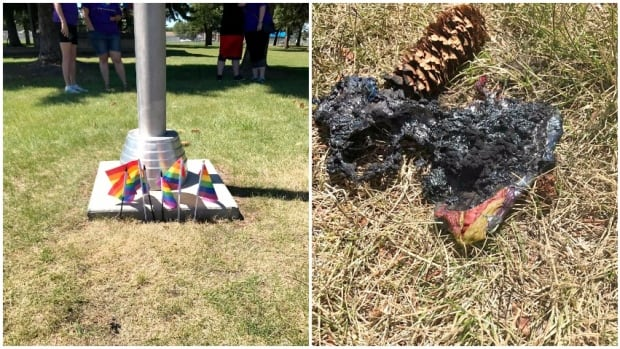 Smaller Pride flags (left photo) were placed at the bottom of the flagpole in Confederation Park in Taber after a Pride flag flying there was burned overnight (right photo).