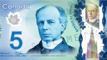 Canadian five from Bank of Canada website