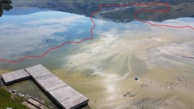 The toxic algae bloom, shown in this photo from June 25, means the water is not safe to consume or swim in. The band says the bloom will likely remain for another week.