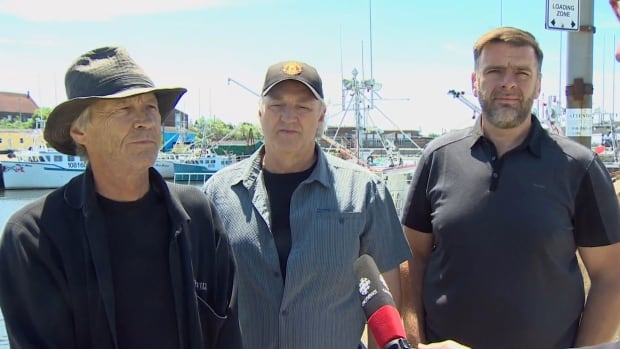 From left to right: Graeme Gawn, Bernie Berry and Colin Sproul. All three are representatives of fishermen groups opposing mandatory at-sea observers in Nova Scotia's largest fishing area.