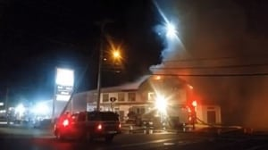 Campbell River's historic Quinsam Hotel appears destroyed by fire