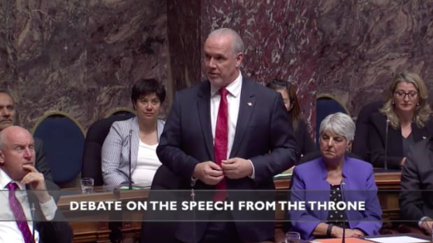 NDP Leader John Horgan presents his non-confidence motion in the B.C. Legislature on Wednesday.