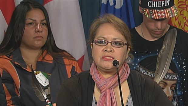 Jocelyn Wabano-Iahtail addresses reporters at a news conference Thursday morning after helping to set up a teepee on Parliament Hill ahead of Canada Day celebrations.