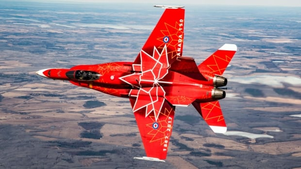 A CF-18 demonstration jet has been painted for Canada 150.