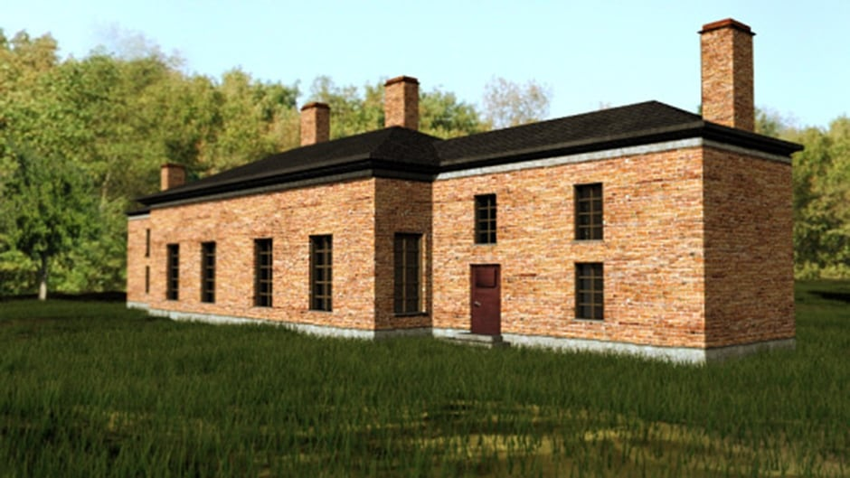 A computer-generated image shows what the two brick buildings of Upper Canada's first Parliament would have looked like in the early 1800s.
