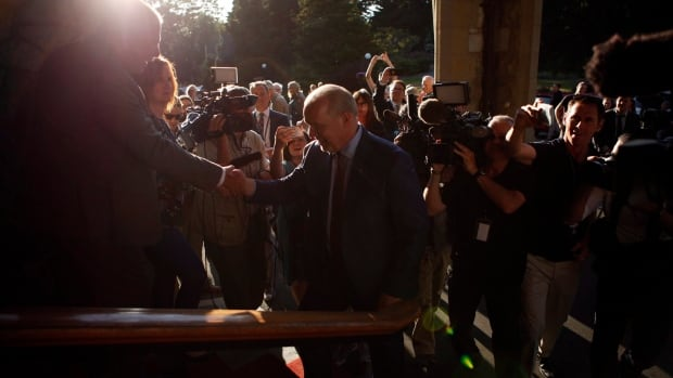 NDP leader John Horgan arrives at Government House to speak with Lt.-Gov. Judith Guichon in Victoria on June 29.