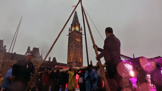 Indigenous teepee moved Parliament Hill Ottawa June 29 2017