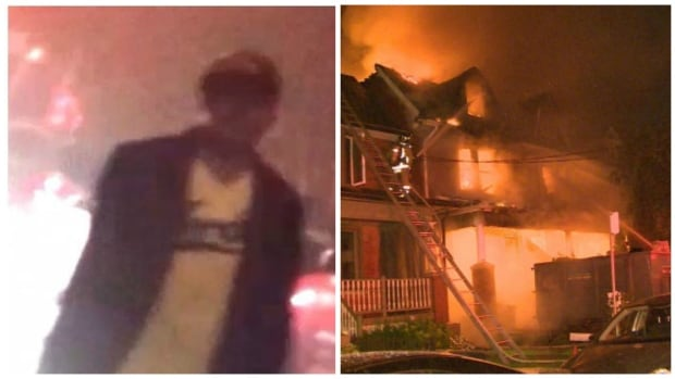 An image of the suspect wanted in connection with a fire that tore through two houses in Leslieville on Tuesday.