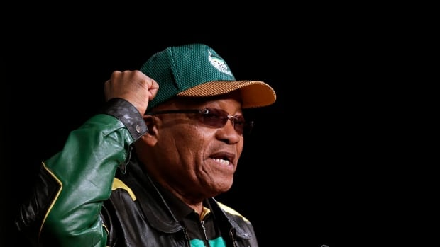 Jacob Zuma, South Africa's ruling party president, addresses party delegates, during the African National Congress policy conference on Friday.