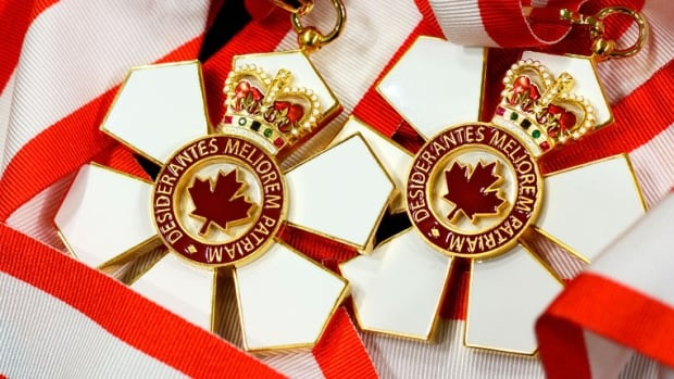 The insignia of the Order of Canada is a snowflake, with a centre that bears a maple leaf and the motto of the Order, Desiderantes Meliorem Patriam (They desire a better country), surmounted by the Crown.