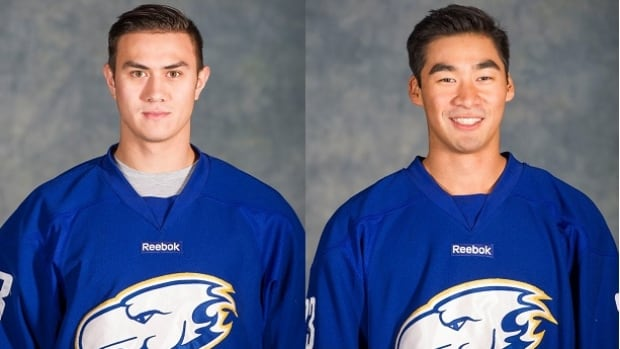 UBC players Luke Lockhart (left) and Derek Dun have both signed with the Beijing Kunlun Red Star of the Russian KHL, with hopes of playing for China in the 2022 Olympics.