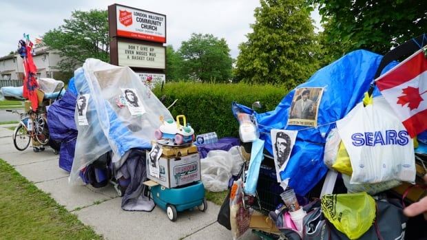"""This is my rolling art exhibit,"" Sunny James says of the four shopping carts he keeps stuffed to overflowing with his possessions. His caravan has frayed the nerves of neighbours, who've been posting to Facebook about how difficult it is to get around him."
