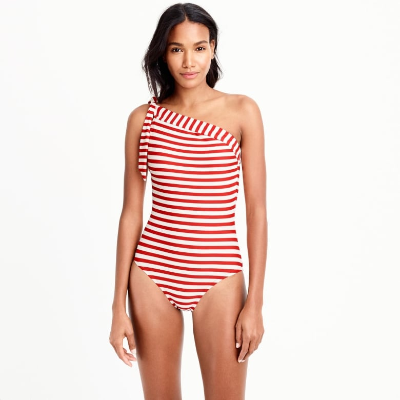 2a391a218b6 Horizontal stripes can be surprisingly flattering because they draw  attention to even the subtlest of waist lines. The one-shoulder design on  this suit is ...