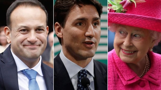 Prime Minister Justin Trudeau centre will meet with Irish Prime Minister Leo Varadkar left in Dublin Tuesday before a private audience with the Queen in Scotland Wednesday his second as prime minister