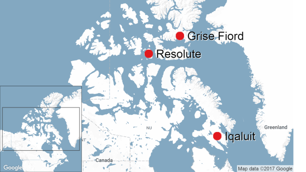 Grise Fiord, Resolute map