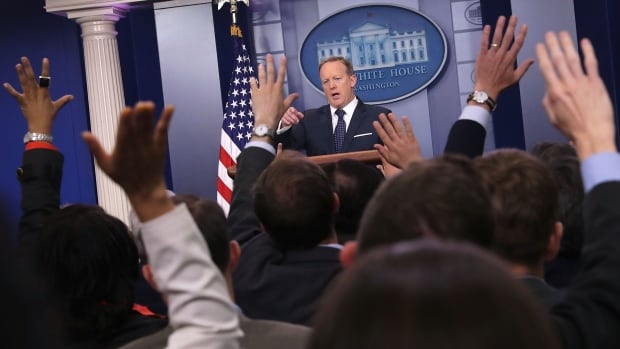 White House press secretary Sean Spicer calls on reporters during a briefing in early June.