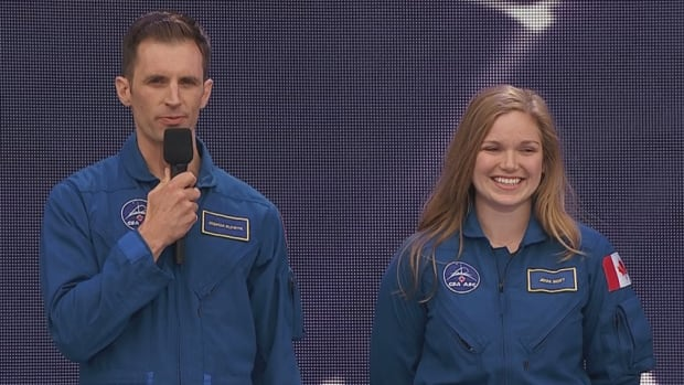 Joshua Kutryk of Fort Saskatchewan, Alta., left, and Jennifer Sidey of Calgary are the newest astronauts with the Canadian Space Agency.