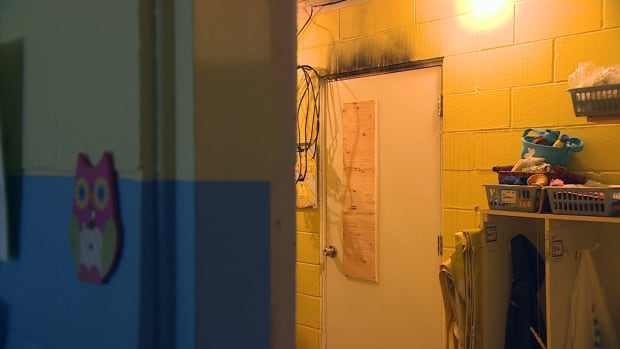Fire damage is visible above a door to the room where a fire broke out at St. Therese Child Care facility in Winnipeg.
