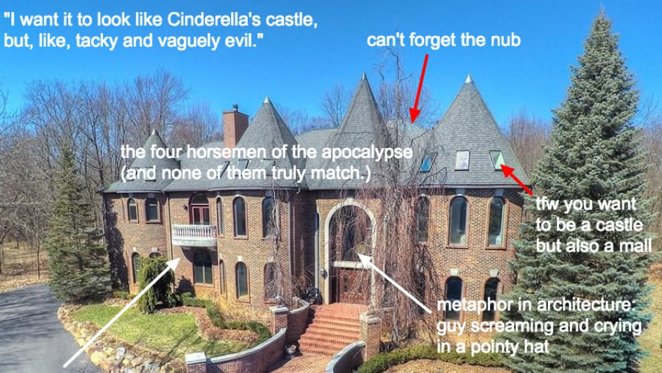 McMansion Hell posts images from real estate listings with snarky commentary added.