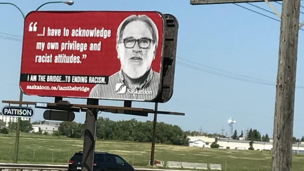 The anti-racism billboard seen on Circle Drive in Saskatoon on July 3, 2017.