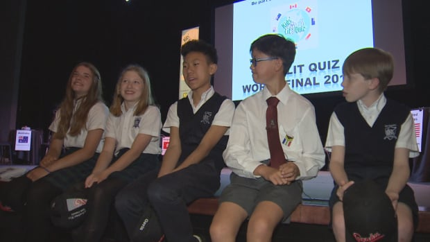 From left to right, Grace Ratelband, India Morrish, Gavin Liu, Hongjae Noh and William Thompson relax before the Kids' Lit Quiz world finals in Oakville.