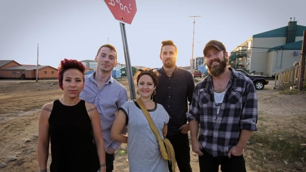 The Jerry Cans' Nancy Mike, Andrew Morrison, Gina Burgess, Brendan Doherty, and Steve Rigby in Iqaluit. The band was nominated for 2018 Juno Awards Wednesday.