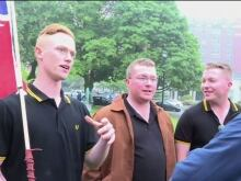 A Proud Boy member, left, and the group's founder Gavin McInnes, right, sport black Fred Perry polo shirts, the uniform of choice for the far-right group.
