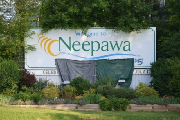Neepawa sign graffiti covered