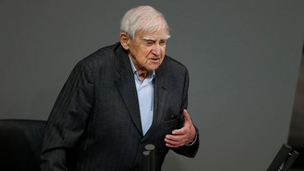 Russian writer Daniil Granin is shown during a commemoration service on International Holocaust Memorial Day at the Reichstag building, seat of the German lower house of Parliament Bundestag, in Berlin on Jan. 27, 2014. Granin has died, the Kremlin announced.