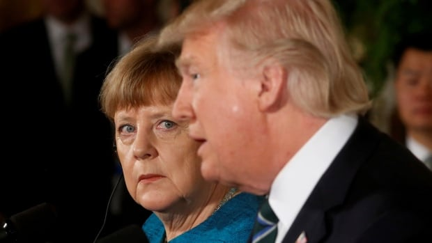 Germany's Chancellor Angela Merkel with President Donald Trump: less reliance on U.S. 'in the United Nations' work, in Middle East policy, in European security policy or in peace missions in Africa.'