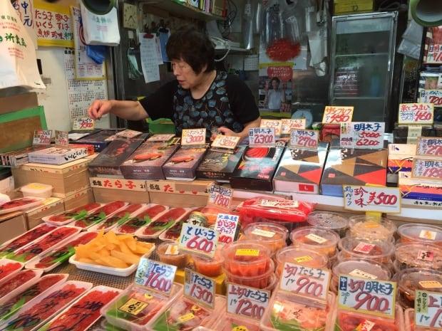 Fish merchant in Tokyo