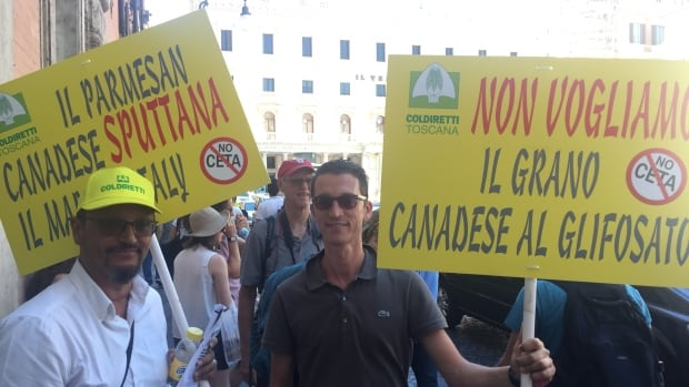 Farmers from across Italy gather outside the country's parliament in Rome to protest against CETA, the EU-Canada trade deal.