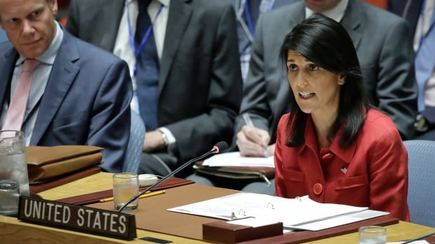 United States UN Ambassador Nikki Haley speaks during a UN Security Council meeting on North Korea's latest launch of an intercontinental ballistic missile.