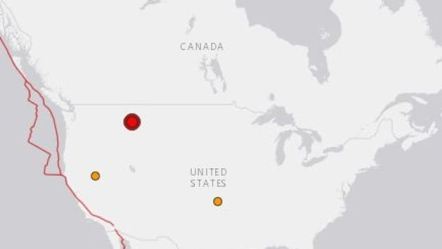 This USGS map shows the location of a quake that rattled western Montana