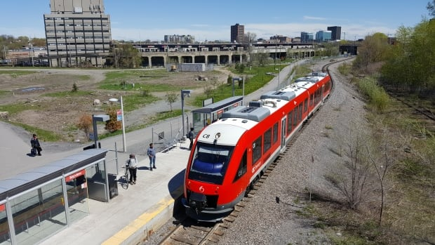 The O-Train pulls in to Bayview Station in Ottawa on May 15, 2017. The planned route for the Trillium Line would extend south of Earl Armstrong Road and could potentially extend west to Limebank Road.