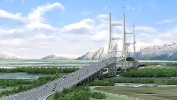 An artist's rendering of the proposed bridge to replace the George Massey tunnel.