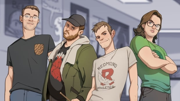 Toronto-based punk band Pup are shown as they appear in the game Dream Daddy: A Dad Dating Simulator.