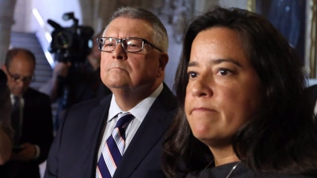 Minister of Justice Jody Wilson-Raybould stands with Public Safety Minister Ralph Goodale. The two senior cabinet ministers announced an apology and settlement with Omar Khadr.