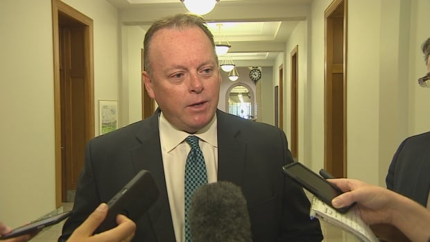 Minister of Finance Kevin Doherty spoke at the Legislative Building on Friday morning.