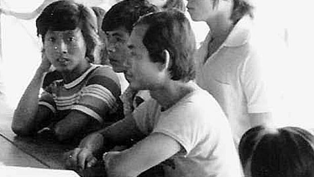 Andy Huynh, left, at the Galang Island refugee camp in Indonesia in 1980. The photo captures Huynh, 17 at the time, on the day he was approved for a visa to enter Canada as a refugee.