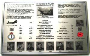 memorial plaque to the crew of Lancaster LL687