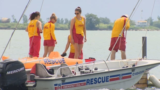 Lifeguards at Cherry Beach preparing for a rescue.
