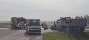 Crash on Highway 75 between gravel truck and semi-trailer