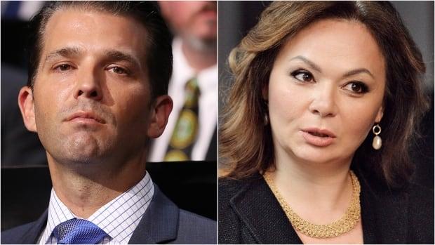 Left: U.S. President Donald Trump's eldest son, Donald Trump Jr. Right: Kremlin-linked lawyer Natalia Veselnitskaya.